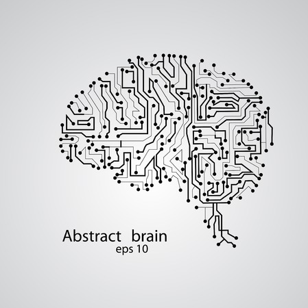 Circuit board brain , vector illustration Vector