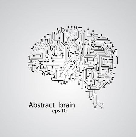 Circuit board brain  , vector illustration
