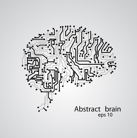 Circuit board brain   vector illustration Vector