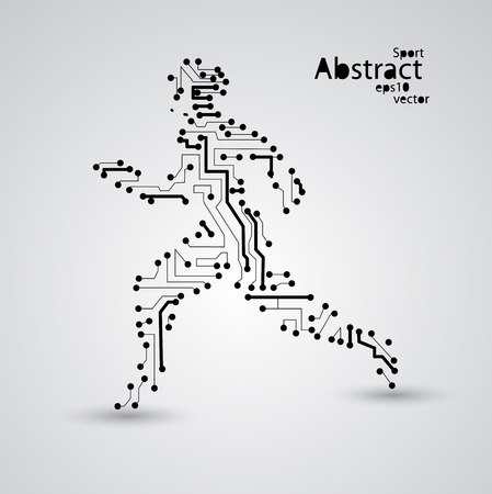 Sport circuit board running man , vector elegant illustration
