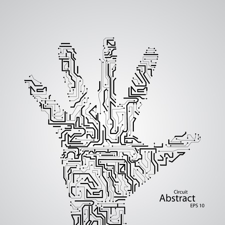Circuit board shape of hand palm , vector elegant illustration Illustration