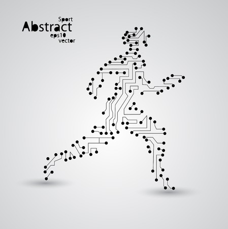 Sport circuit board running man eps10, vector elegant illustration