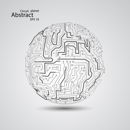 Circuit board planet, vector illustration