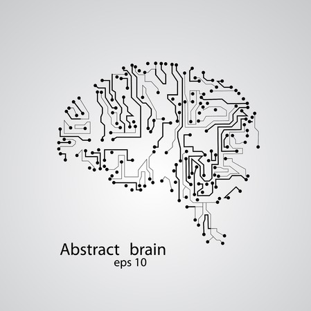Circuit board brain , vector illustration