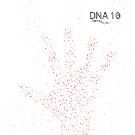 Molecular structure in the form of hand Vector
