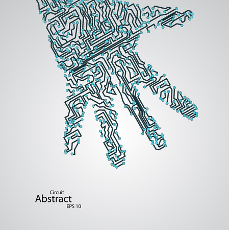 Circuit board shape of hand palm   Vector