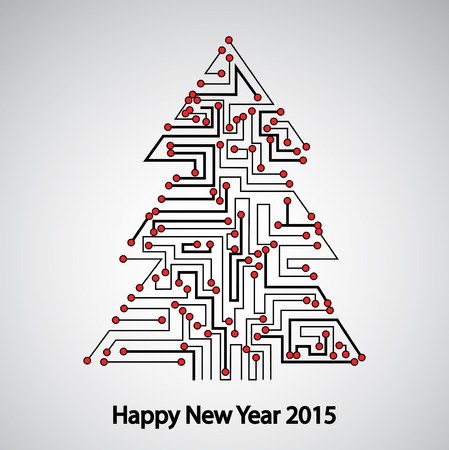 Circuit board, Tree for the new year Vector