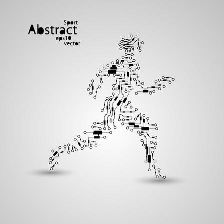 eps10: Sport circuit board running man eps10 Illustration
