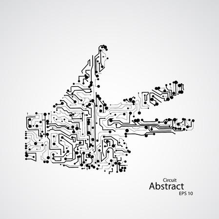 technologic: Circuit board, human hand three finger Illustration