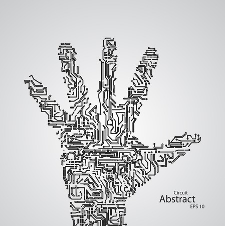 eps10: Circuit board shape of hand palm eps10