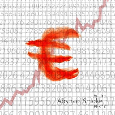fiery font: Zeichen der Euro von einer rauchigen Illustration