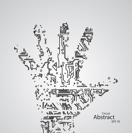 Circuit board shape of hand palm eps10 Vector