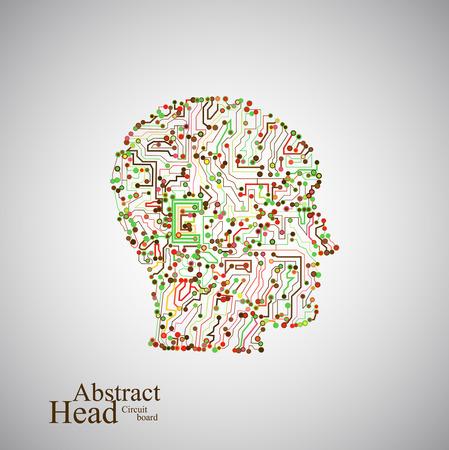 Circuit board human head  Vector
