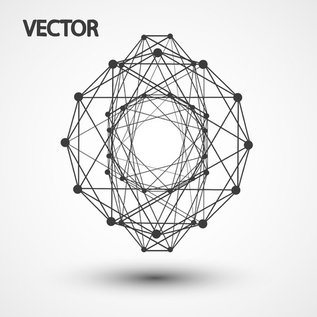 hexahedron: Wireframe polygonal elements eps10