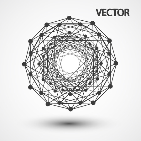 icosahedron: Wireframe polygonal elements