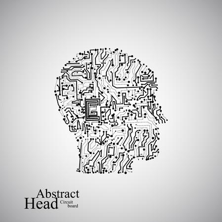 Circuit board human head  eps 10, vector illustration Vector
