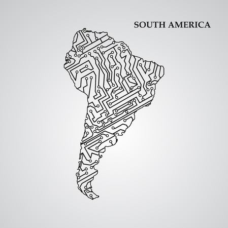 trajectory: Circuit board South America eps 10, vector elegant illustration Vettoriali