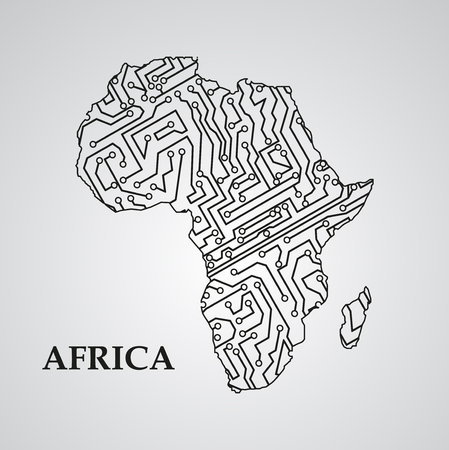 africa continent: Circuit board Africa eps 10, vector elegant illustration