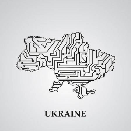 europa: Circuit board Ukraine  vector elegant illustration
