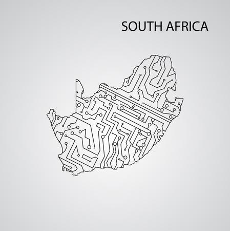 Circuit board  South Africa, vector elegant illustration Illustration