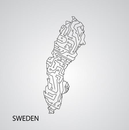 Circuit board  Sweden, vector elegant illustration Illustration