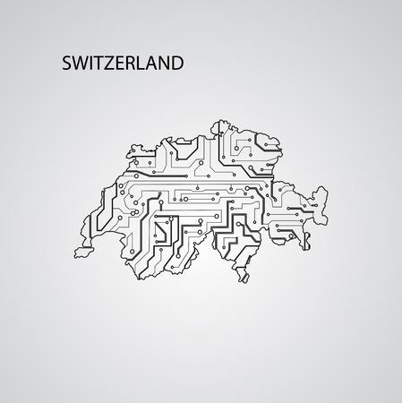 Circuit board  Switzerland, vector elegant illustration