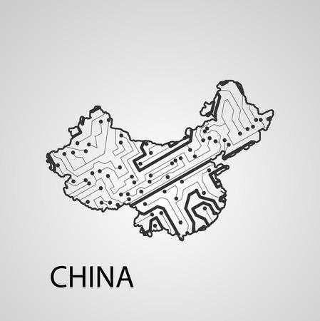 Circuit board China, vector elegant illustration