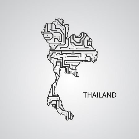 Circuit board Thailand, vector elegant illustration Illustration