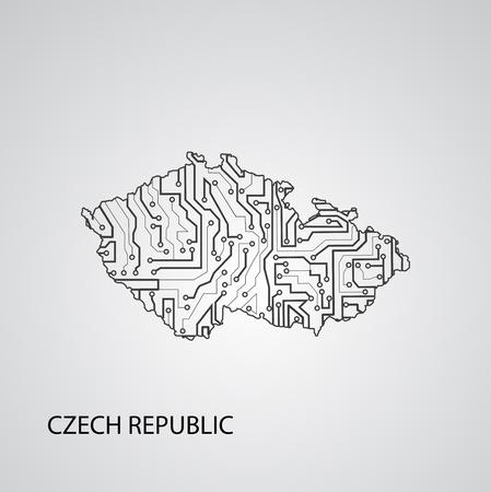 Circuit board Czech Republic, vector elegant illustration