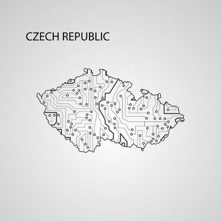 Circuit board Czech Republic , vector elegant illustration Illustration