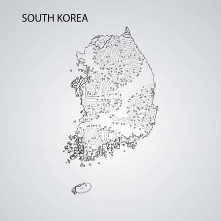 Circuit board South Korea, vector elegant illustration