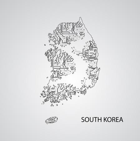Circuit board South Korea , elegant illustration