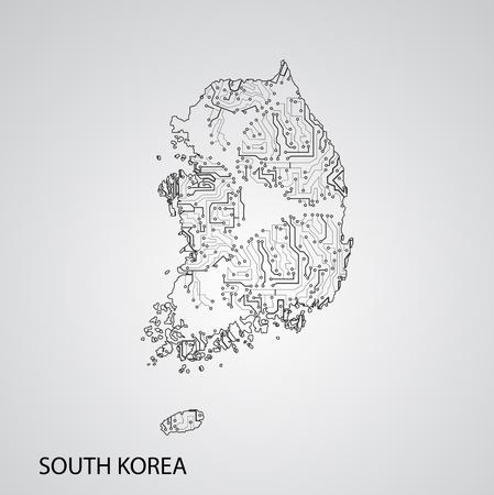 Circuit board South Korea ,elegant illustration