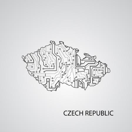 Circuit board Czech Republic, elegant illustration