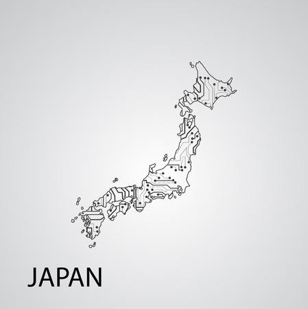 Circuit board Japan , elegant illustration Illustration