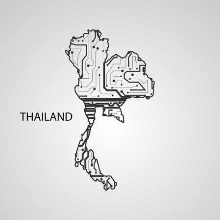 Circuit board Thailand, elegant illustration Illustration