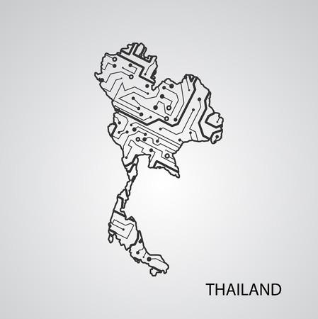 Circuit board Thailand , elegant illustration
