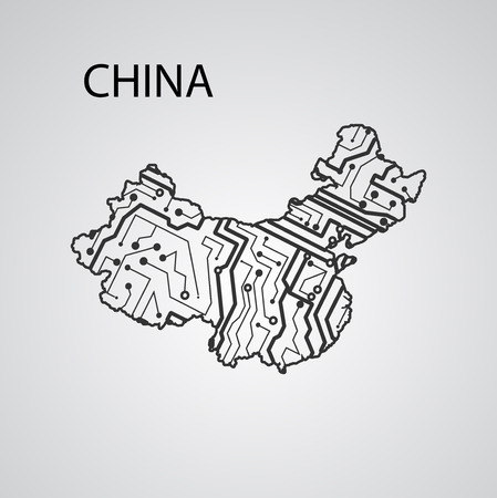 Circuit board China, elegant illustration