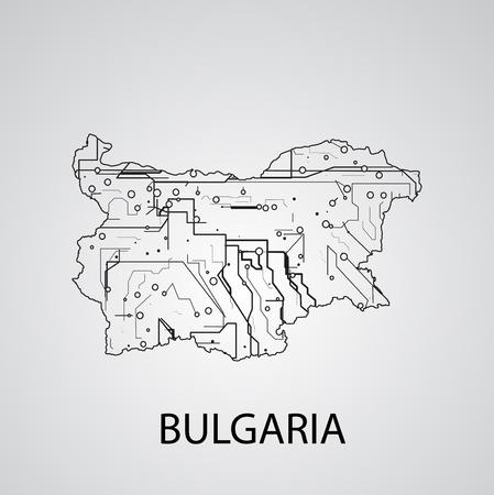 Circuit board  Bulgaria, elegant illustration