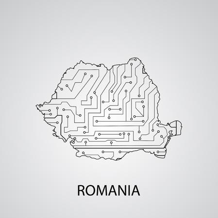 Circuit board  Romania , elegant illustration