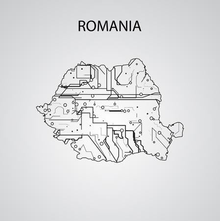 Circuit board  Romania, elegant illustration