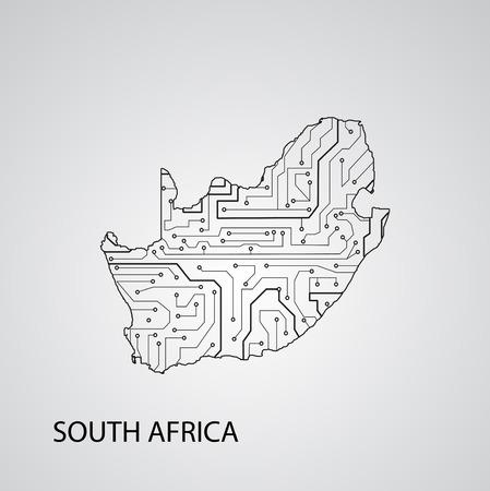 Circuit board  South Africa , elegant illustration