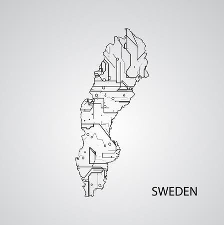 Circuit board  Sweden , elegant illustration Illustration