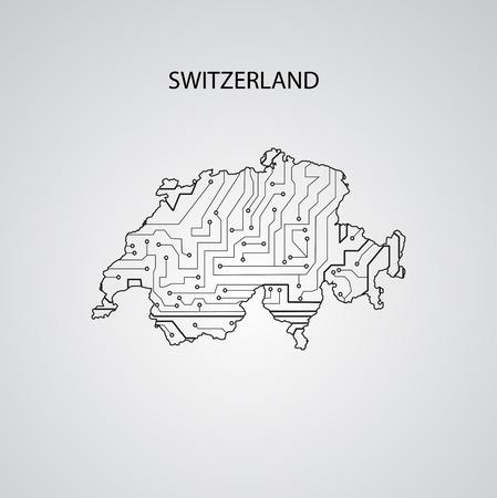Circuit board  Switzerland , elegant illustration