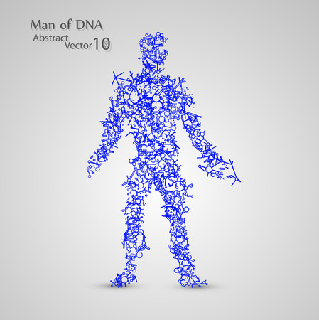 Molecular structure in the form of man Illustration