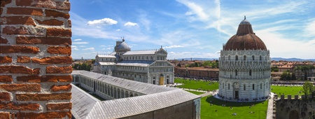 Panoramic view of Piazza dei Miracoli Pisa  photo taken from the wall of the city in Piazza dei Miracoli Pisa photo