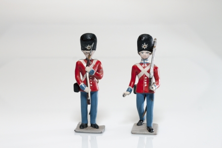 toy soldier: Tin Soldier of the royal guard on white background