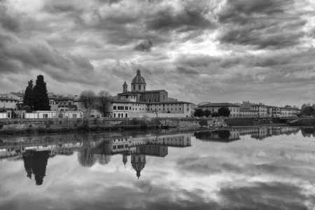 cityscape along the river Arno of Florence