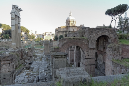 Cityscape of the Foro Romano Rome Italy photo