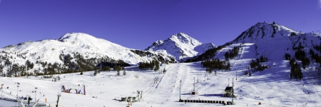 landscape of sky slopes in Sestriere Val Chisone Piedmont Italy